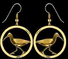 gold sandpiper dangle earrings