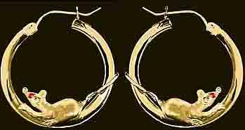 gold mouse hoop earrings