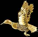 Gold Bird Mallard duck pendant