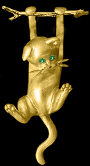 Gold Kitten hanging pin