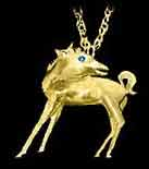 Horse jewelry. Colt pendant with sapphire eyes